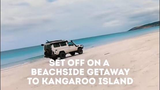 SCREEN GRAB: The promotional video included sped-up footage of a Landcruiser driving down Emu Bay beach.