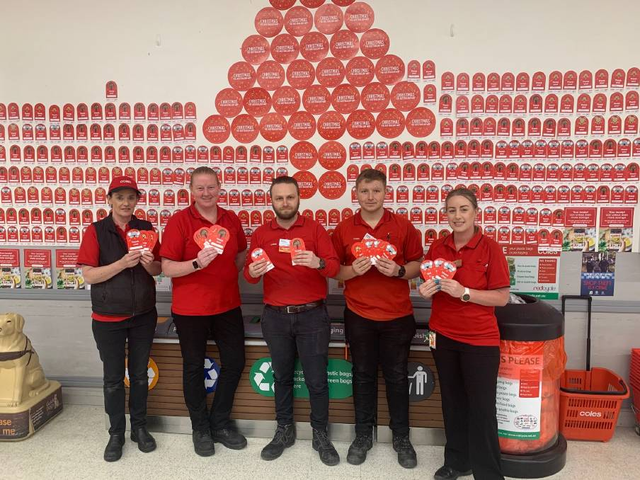 APPEAL: Whyalla Coles staff members Liz Reed, store manager Cath Hunter, Stefan DAntiocchia, Kaine Bubicich and Danielle Wilkes are urging the community to get behind the Christmas appeal. Photo: Supplied